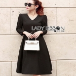 Chic Black Crepe Lady Ribbon Dress