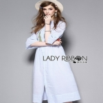 Striped Cotton Dress Lady Ribbon เดรสผ้าคอตตอน