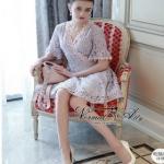 ผ้าทอดอกสีชมพูโทนพาส