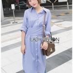 Grey Striped Lady Ribbon Shirt Dress