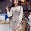 Mini Dress มินิเดรสผ้าลายสก็อตและผ้าชีฟองสีขาว thumbnail 6