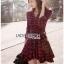 Red Tartan Ruffle Lady Ribbon Shirt Dress thumbnail 2