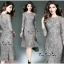 Luxurious Classic Long-sleeves Lace Dress thumbnail 3