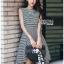 Chic Asymmetric Lady Ribbon Striped Dress thumbnail 1