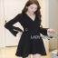 Lady ribbon Black Dress with Metal Ring thumbnail 1