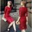 Lady Ribbon Online เสื้อผ้าแฟชั่นออนไลน์ขายส่ง เลดี้ริบบอนของแท้พร้อมส่ง Veryverypreppy เสื้อผ้า VP03240716 Luxurious Classic Floral Lace Dress thumbnail 3