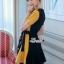 เดรสสุสีดำผ้าสีเหลืองคอสูทกระโปรงสั้นยาว thumbnail 4