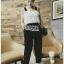 Lady Ribbon Lace and Black Crepe Jumpsuit thumbnail 3
