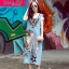 NA15290816 &#x1F389Normal Ally Present Denim bib skirt summer set&#x1F389 (เอี้ยมยีนส์ปักเลื่อม + เกาะอกสีดำ) thumbnail 2