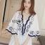 Classic Dark Blue and White Embroidered Dress เดรสปักและตกแต่งลาย thumbnail 6