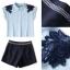 Lady Ribbon Online เสื้อผ้าออนไลน์ขายส่ง Normal Ally เสื้อผ้า,NA05220816 &#x1F389Normal Ally Present flower lace decorate shirt and pant set&#x1F389 (เสื้อแต่งลูกไม้บ่า+กางเกงกระโปรงแต่งเชือกเปียเอว) thumbnail 6