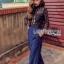 Black Lace and Electric Blue Jumpsuit thumbnail 2
