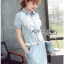 Lady Ribbon Online ขายส่ง เสื้อผ้าออนไลน์ ของแท้ ราคาถูกพร้อมส่ง เลดี้ริบบอน LR09140716 &#x1F380 Lady Ribbon's Made &#x1F380 Chanel White Lace Denim Shirt Dress with Belt thumbnail 5
