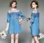 Lady Erin Casual Denim and Lace Mini Dress thumbnail 1
