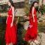 Sevy Ribbon Shoulder Sexy Waist Back Red Hot Maxi Dress thumbnail 4
