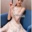 Lady Ribbon Mini Dress มินิเดรสผ้าลูกไม้สีครีมอ่อน thumbnail 1