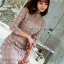 Lady Stella Flower Lace Dress in Beige thumbnail 4