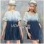 Lady Ribbon Online เสื้อผ้าออนไลน์ ขายส่งของแท้ราคาถููก LR10110716 &#x1F380 Lady Ribbon's Made &#x1F380 Lady Marina Cut-Out Pearl Embroidered Ombre Denim Dress thumbnail 1