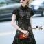 Lady Ribbon Online เสื้อผ้าออนไลน์ขายส่ง Normal Ally เสื้อผ้า,NA11220816 &#x1F389Normal Ally Present Elegance sleeve black lace lotus leaf swing&#x1F389 (เดรสผ้าลูกไม้, มีซับในอย่างดี) thumbnail 2