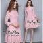 สีชมพูชุดเดรสเกาหลีแขนยาว thumbnail 2