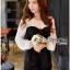 Lady Ribbon ขายส่งเสื้อผ้าออนไลน์พร้อมส่งของแท้ LR09220716 &#x1F380 Lady Ribbon's Made &#x1F380 Lady Hannah Sweet Monochrome Playsuit with Ribbon thumbnail 4