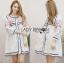 Lady Ribbon Online ขายส่งเสื้อผ้าออนไลน์เลดี้ริบบอน LR08010816 &#x1F380 Lady Ribbon's Made &#x1F380 Lady Alexandria Country Feminine Flower Embroidered Button-Down Cotton Dress thumbnail 1