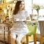 Lady Ribbon Self-Portrait Mixed White Lace Mini Dress thumbnail 2