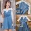 Lady Ribbonc Lace and Denim Mini Dress thumbnail 1