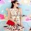 Lady Ribbon Mini Dress มินิเดรสสีครีมปักลายดอกไม้ thumbnail 1