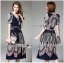 LR11290816 &#x1F380 Lady Ribbon's Made &#x1F380 Lady Sasha Classy Smart Printed Midi Dress with Ribbon Belt thumbnail 1