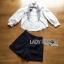 เซ็ตเสื้อเชิตสีขาวปักลายและกางเกงลายทาง thumbnail 6