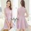 เสื้อผ้าแฟชั่นเกาหลีเดรสผ้าลูกไม้ตัดต่อกับกระโปรงผ้าซีลค์ thumbnail 1