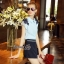 Lady Ribbon Online เสื้อผ้าออนไลน์ขายส่ง Normal Ally เสื้อผ้า,NA05220816 &#x1F389Normal Ally Present flower lace decorate shirt and pant set&#x1F389 (เสื้อแต่งลูกไม้บ่า+กางเกงกระโปรงแต่งเชือกเปียเอว) thumbnail 3