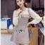 Mini Dress มินิเดรสผ้าลายสก็อตและผ้าชีฟองสีขาว thumbnail 7