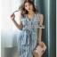 Lady Striped Sleeveless Dress with Ribbon เดรสผ้าเครป thumbnail 1