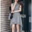 Chic Asymmetric Lady Ribbon Striped Dress thumbnail 2