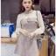 Mini Dress มินิเดรสผ้าลายสก็อตและผ้าชีฟองสีขาว thumbnail 1
