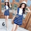 Lady Ribbon Online เสื้อผ้าแฟชั่นออนไลน์ขายส่ง เลดี้ริบบอนของแท้พร้อมส่ง sevy เสื้อผ้า SV01240716 &#x1F389Sevy Two Pieces Of Sleeveless Stripes Edge With Shorts Sets thumbnail 2