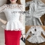 Lady Ribbon Julia White Flower Embroidered Lace Peplum Blouse thumbnail 4