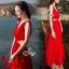 Sevy Ribbon Shoulder Sexy Waist Back Red Hot Maxi Dress thumbnail 2