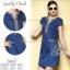 2Sister Made, Beauty Navy Jeans Vintage Dress เดรสยีนส์ลุคเก๋ๆ เนื้อผ้าเดนิมสีเข้ม ดีเทลแขนสั้น thumbnail 1