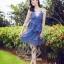 2Sister Made, Blue Mini Sexy Beauty Dress เดรสหรูสไตล์แบรนด์ดัง เนื้อผ้าลูกไม้เกรดดี ดีเทลสายเดี่ยว thumbnail 6