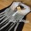 Lady Ribbon Crochet Navy Sleeveless Blouse thumbnail 6