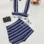 Lady Ribbon Online เสื้อผ้าแฟชั่นออนไลน์ขายส่ง เลดี้ริบบอนของแท้พร้อมส่ง sevy เสื้อผ้า SV01240716 &#x1F389Sevy Two Pieces Of Sleeveless Stripes Edge With Shorts Sets thumbnail 4