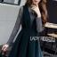 Dark Green Lady Ribbon Pleated Set Dress thumbnail 2