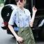 Lady Ribbon Online ขายส่งเสื้อผ้าแฟชั่นออนไลน์ เสื้อผ้า Normal Ally NA10080816 &#x1F389Normal Ally Present Pineapple print shirt striped and army tone skirt set&#x1F389 thumbnail 2