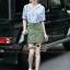 Lady Ribbon Online เสื้อผ้าออนไลน์ขายส่ง Normal Ally เสื้อผ้า NA11150816 &#x1F389Normal Ally Present Pineapple print shirt striped and army tone skirt set&#x1F389 thumbnail 5