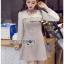 Mini Dress มินิเดรสผ้าลายสก็อตและผ้าชีฟองสีขาว thumbnail 8