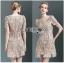 Lady Ribbon ขายส่งเสื้อผ้าออนไลน์พร้อมส่งของแท้ LR15220716 &#x1F380 Lady Ribbon's Made &#x1F380 Lady Jennie Sweet Feminine Nude Guipure Lace Dress เ thumbnail 1
