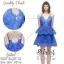 2Sister Made, Blue Mini Sexy Beauty Dress เดรสหรูสไตล์แบรนด์ดัง เนื้อผ้าลูกไม้เกรดดี ดีเทลสายเดี่ยว thumbnail 1